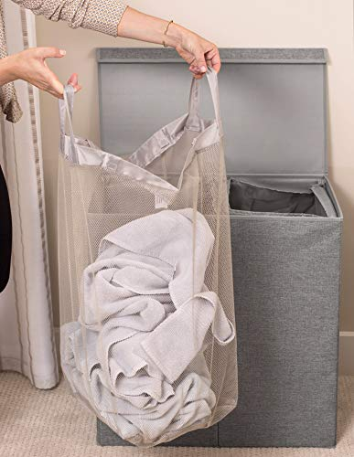 BirdRock Home Double Laundry Hamper with Lid and Removable Liners - Linen Hampers - Grey Foldable Bin - Easily Transport Clothes - Cut Out Handles - Clothes Basket