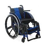 AWJ Silla de Ruedas para Deportes de Ocio, Silla de Ruedas para Ancianos, Silla de Ruedas de Aluminio Plegable, Ligera y autopropulsada Manual para Adultos (tamaño: Azul)