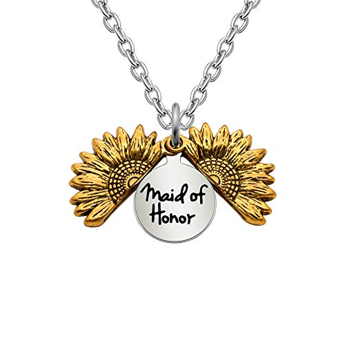 KENYG Sunflower Locket Maid of Honor Silver Chain Necklace For Best Friends Bridesmaid Necklace Women Fashion Jewellery