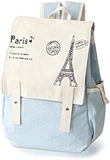 Fashion Cute Women's Bag Canvas Satchel Girls' Lovely Sweet Paris Eiffel Tower Design Backpack Schoolbag by DGQ