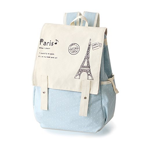 Kawaii Backpack Canvas Cute Polka Dot Bow Lace Bookbags Schoolbag Satchel School College Bag Rucksack by