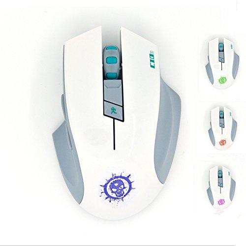 SROCKER C10s 2.4GHz Wireless Silent Click Gaming Mouse/Mice Soundless Mouse with Nano USB Receiver, 3 Adjustable DPI, 6 Buttons and Four-color Luminous LED for PC and Mac(White)