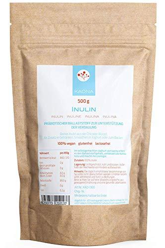 Inulin Pulver - 500g präbiotischer Ballaststoff im wiederverschließbarem Beutel von kaona