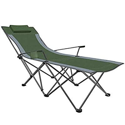 Camping Portable Chair with Footrest Folding Reclining Beach Chair 300lbs for Adults Green