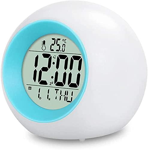 CHUNYU Reloj Despertador LED para niños 7 Colores Que cambian el Reloj Despertador con luz LED Reloj Despertador con luz para Despertar con Fecha y Temperatura