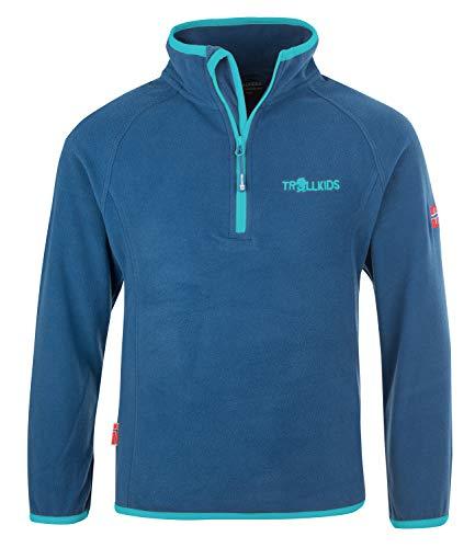 Trollkids Kinder Fleece-Pullover Nordland mit Reißverschluss, Mitternachtsblau/Minze dunkel, Größe 140