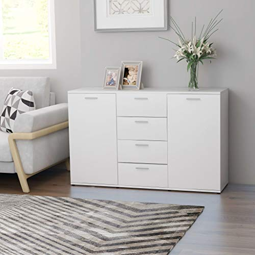 """Storage Sideboard with 2 Doors and 4 Drawers Buffet Table Large Kitchen Cabinet Freestanding Console Table Cupboard Chest for Living Room Dining Room Bedroom or Entry White 47.2""""x14""""x29.5"""""""