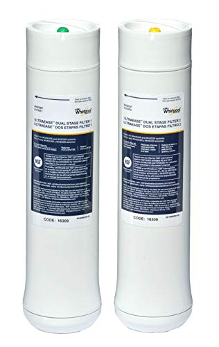 Whirlpool WHEEDF Dual Stage Replacement Pre/Post Water Filters   Fits WHADUS5 & WHED20 Filtration Systems   1 Set, Pack of 2, Grey