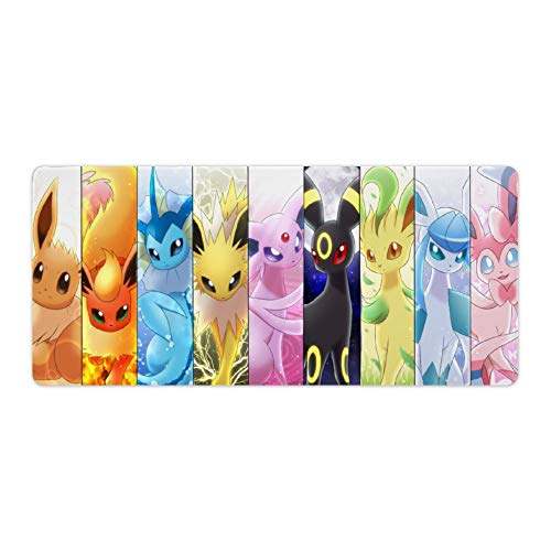 Anime Mouse pad,Eevee Evolutions (1),Large Gaming Mouse Mat,Desk Mat,Waterproof Anti-Dirty Non Slip Lockrand Mousepad,Perfect for Home Working,90x40cm 35x16 inch