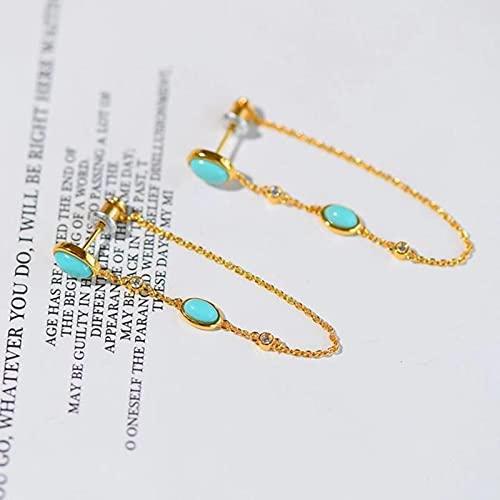 LOKILOKI Nuevos Pendientes De Borla Largos Turquesa Originales Estilo Chino Retro Único Artesanía De Oro Antiguo Regalo De Lujo Ligero
