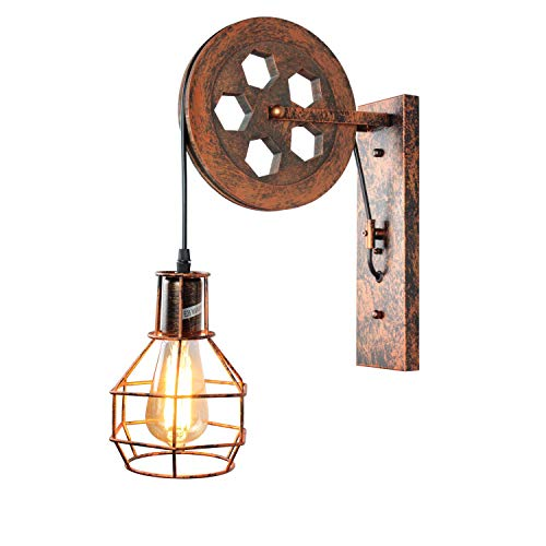 1 Light Fixture, PUZHI HOME Wall Light Fixture Creative Pulley Wall Sconce Antique Wall Lamp for Indoor Corridor Lighting Barn Restaurant Foyer
