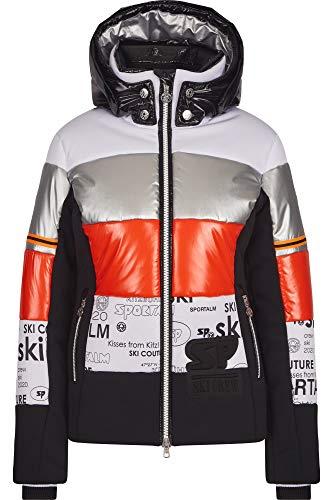 Sportalm W Insulated Jacket 1 Gestreift-Grau-Rot-Schwarz-Weiß, Damen Regenjacke, Größe 40 - Farbe Fire Red