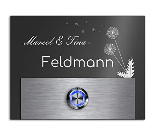 Türklingel mit Gravur LED-Klingelknopf und über 99 Motive 13x10 cm | Modell: Feldmann-Aa | gravierte Klingel aus Hochglanz Acrylglas und Edelstahl Klingelschild