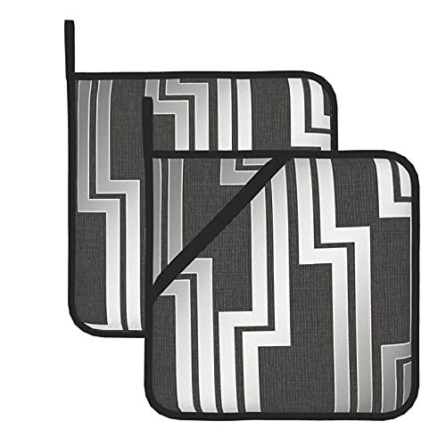 Juego de 2 soportes para ollas de cocina resistentes al calor y manoplas de horno, geométricas paralelas negras plateadas para cocinar a la parrilla, almohadillas de aislamiento de microondas