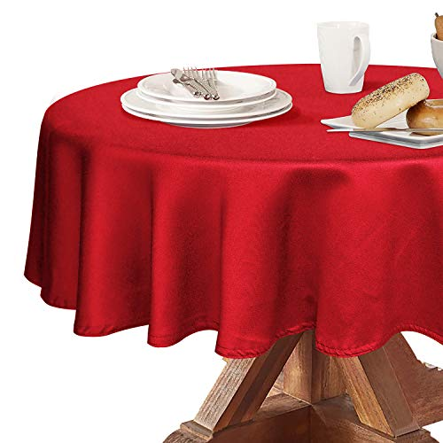 Obstal 210GSM Round Table Cloth, Oil-Proof Spill-Proof and Water Resistance Microfiber Tablecloth, Decorative Fabric Circular Table Cover for Outdoor and Indoor Use (Rio Red, 70 Inch Diameter)