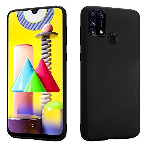 HSP Matt Schwarze Hülle kompatibel mit Samsung Galaxy M31   Premium TPU Silikon Hülle   Kratzfest Stoßfest   Matte Oberfläche   Passexakte, weiche, Ultra dünne Schutzhülle