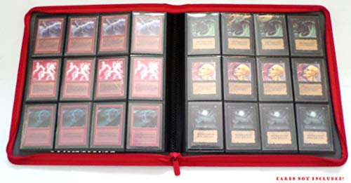 docsmagic.de Premium Pro-Player 12-Pocket Playset Zip-Album Red - 480 Card Binder - MTG - PKM - YGO - Reissverschluss Rot