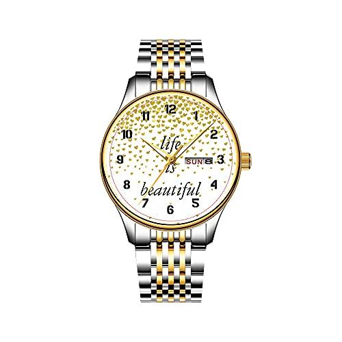 Relojes para hombre de cuarzo japonés con fecha de acero inoxidable, pulsera dorada, reloj de guitarra