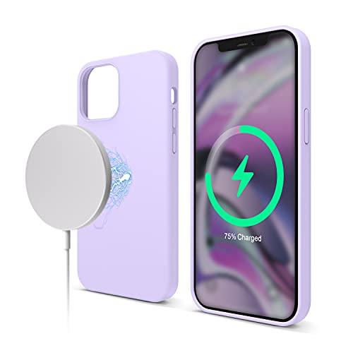 elago Magnetic Silikon-Hülle Hülle Kompatibel mit iPhone 12 & Kompatibel mit iPhone 12 Pro 6,1 Zoll - Eingebaute Magnete, Kompatibel mit MagSafe Zubehör (Violett)
