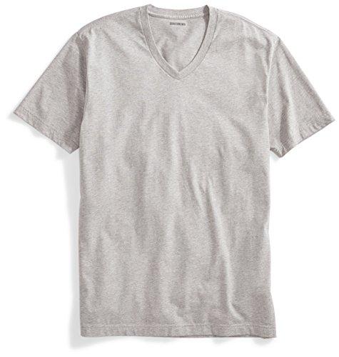 [Goodthreads] ウォッシュ加工 Vネック コットン スリムフィット 半袖 Tシャツ メンズ 杢グレー M