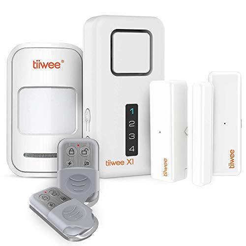 tiiwee Système d'Alarme de Sécurité Kit X1 - sans Fil - Alarme avec X1 Sirène, 1 Détecteur de Mouvement PIR, 2 Capteurs de Fenêtre et de Porte, 2 Télécommandes - 2 Ans de Garantie