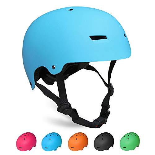 KORIMEFA Kinder Skateboard Helm Kind Fahrrad Schutzhelm 3-13 Jahre alt Jungen und Mädchen Kinder Verstellbarer Helm BMX Reiten Roller Inline Skating (Blau, S)
