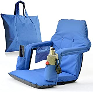 Extra Large Bleacher Seats Foldable - New & Improved 2019 Patent Pending Deluxe Model + Free Carry Bag– Water Resistant + Thick Padding +2 Drink Holders +Zipped Pocket (Blue, X-Large)