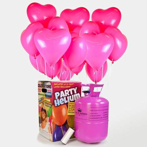 We Are Party Pack Romántico: bombona de Helio Maxi + 50 Globos de látex de Corazón Rosa