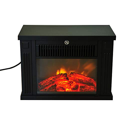 Tidyard Free Standing Electric Fireplace Fire Realistic Flame Effect Space Stove Heater with Adjustable Brightness for Home and Office Black 13.5 x 6.7 x 9.7 Inches (W x D x H)
