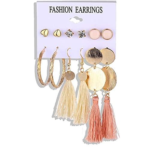 FEARRIN Pendientes Vintage Retro de Oro con borlas acrílicas para Mujer Boho geométrico Pendiente de Gota Conjunto de Pendientes de Perlas joyería H13-Z86-1