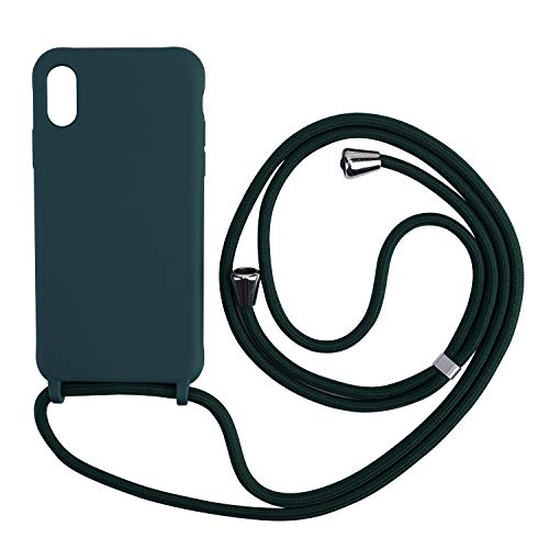 xingting EU Funda con Cuerda Compatible con iPhone 6/7/8(4.7inch) Ajustable Collar Correa de Cuello Cordón Carcasa de Silicona Skin Caso TPU Suave Silicona-Verde Oscuro