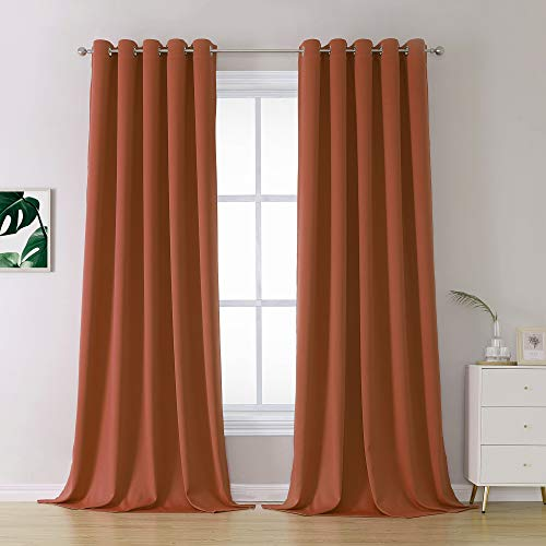 Rust Blackout Curtain for Living Room 108 Inches Long Burnt Orange Solid Curtains for Bedroom Thermal Insulated Grommet Window Treatment Panels Large Windows 60x108 Inch Length