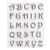 friendsty クリアシールスタンプ、1/8ピースアルファベット文字番号シリコンクリアシールスタンプDIYスクラップブッキングエンボス65#