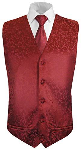 Paul Malone Paul Malone Hochzeitsweste + Krawatte weinrot floral - Bräutigam Hochzeit Anzug Weste Gr. 50 S