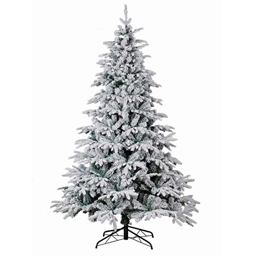 Good Life Christmas Tree PE PVC Premium Hinged Deluxe Artificial Fir Flocked Snow White (7.5' FT, Flocked)