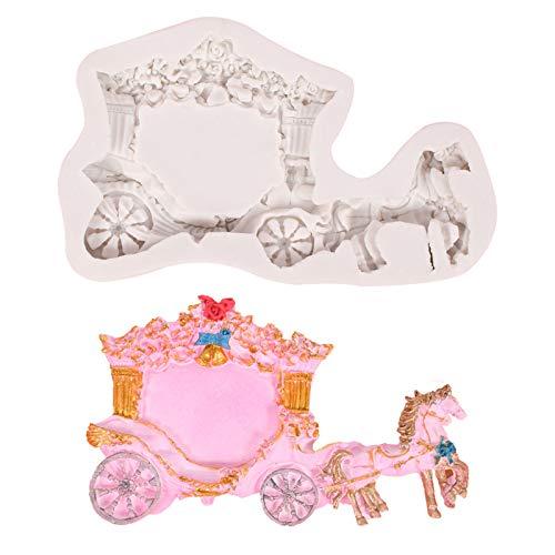 Fugift Moule en silicone en forme de carrosse de mariage royal - Accessoire pour décoration de gâteau, chocolat, cúpcake - Ustensiles de cuisson