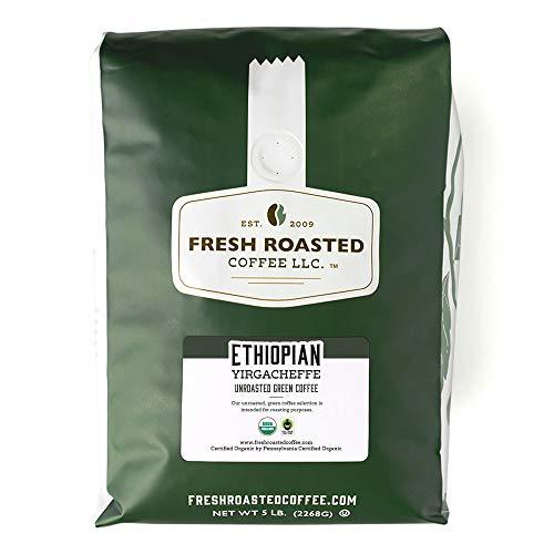 Fresh Roasted Coffee LLC, Green Unroasted Organic Ethiopian Yirgacheffe Kochere Coffee Beans, 5 Pound Bag