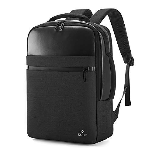KLIFE リュックサック バックパック ビジネスリュック メンズ 大容量 撥水加工 多機能 15.6インチPC ビジネスラップトップバック USB充電ポート付き A4収納 アウトドア 通勤 修学 旅行 通学(ブラック)