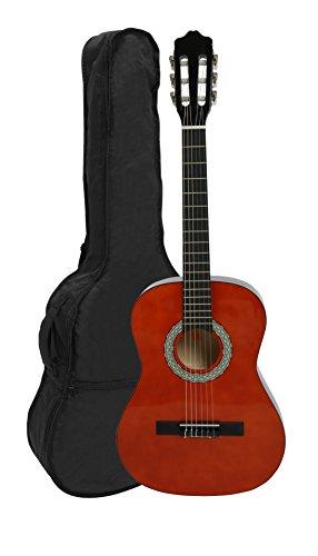 NAVARRA NV13 - Guitarra clásica 3/4 honey con bordes negro incl. funda con correas tipo mochila y bolsillo para partituras/accesorios, 2 Púa