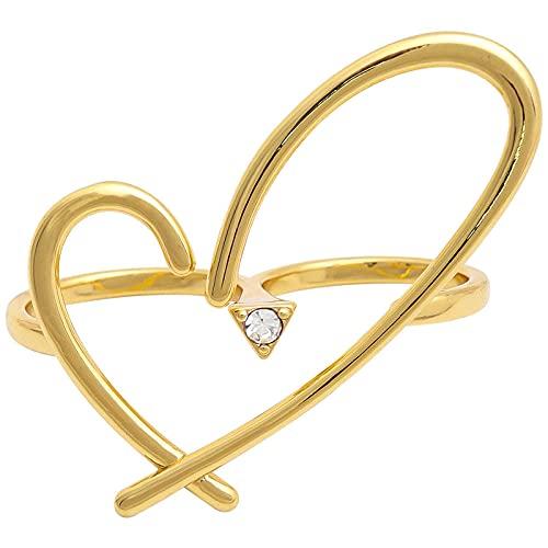 Anillo lateral doble chapado en oro de 14 quilates con forma de corazón y dos dedos de metal irregular ahuecado para mujeres y niñas, fiesta, joyería fresca