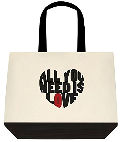 All You Need Is Love Beatles Inspired Large Shoulder Canvas Tote Bag