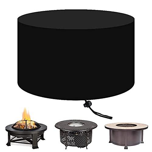 Cubierta for pozo de fuego redonda for 30 32 36 pulgadas Cubierta de mesa for pozo de fuego impermeable al aire libre con dobladillo elástico a prueba de viento Protector de chimenea