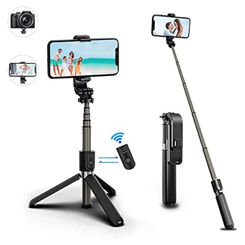 TFUFR Palo Selfie, Mini Tripodes para Moviles 3 en 1 Extensible Stick, Selfie Stick con Control Remoto Bluetooth para Phone/Galaxy/Honor/Redmi/Otros Teléfonos Inteligente con Android/iOS, Caméra