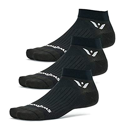Swiftwick- ASPIRE ONE (3 Pairs) Running & Cycling Socks, Breathable, Compression Fit (Black, Medium)