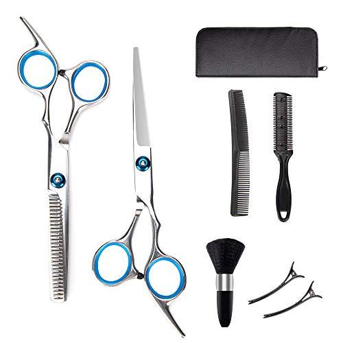 ORDORA Professional Hair Cutting Scissors Kit for Women & Men, Hair Scissors Set for Cutting Hair with Hair Scissors, Thinning Scissors, Razor Comb, Hair Comb, Clips, Brush