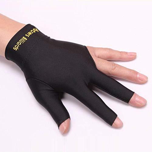 Eillybird Billardhandschuh 3 Finger Billard Handschuhe Mann Frau Dehnbar mit DREI Fingern Snooker Handschuh Schwarz