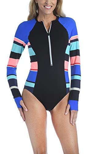 24th & Ocean Women's Paddle Bodysuit One Piece Swimsuit, Multi//Step Up Stripe, L