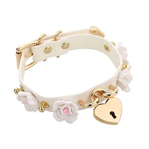 Women Cute Harajuku Lolita 100% Handmade Rose Flower Spikes Collar Lock Key Locket Choker Leather Necklace (Length : 45cm, Metal Color : White with Lock)