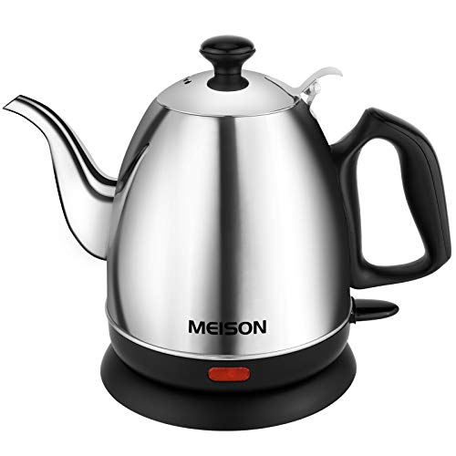 Electric Kettle, Pour Over Coffee Kettle & Tea Kettle 100% Food Grade Stainless Steel Interior Water Boiler, Coffee Pot, Auto Shut-Off and Boil-Dry Protection,120V Cordless, 2 Year Warranty (1.0L)