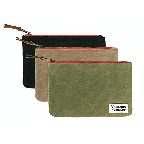 Canvas Tool Bag Zipper Pouch - Utility Waxed Canvas Tool Bags with Heavy Duty Zipper (3 PACK) Durable Cord & Electronics Storage, Pencil Case Organizer, Cosmetic & Toiletry Tote Bag, Money & Bank Bag